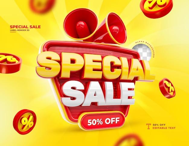 Etiqueta venda especial 50% de desconto no ícone de renderização 3d