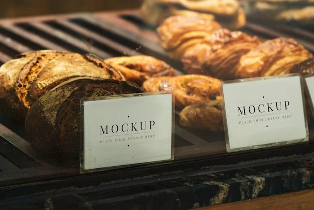 Etiquetas de exibição de prateleira de pastelaria