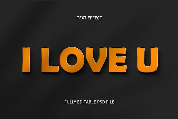 Eu te amo efeito de texto