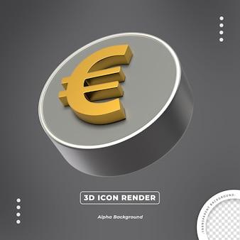 Euro ouro 3d moeda isolada ícone vista lateral render