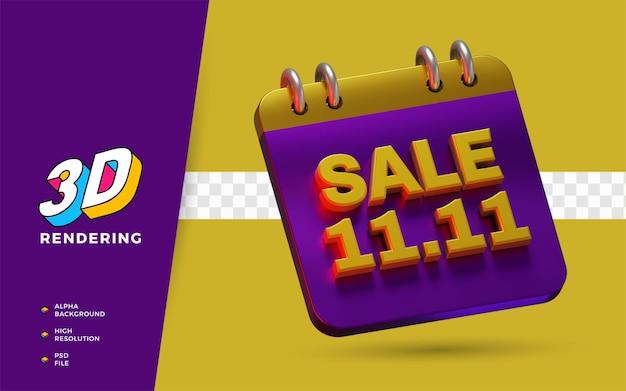 Evento 11.11 com desconto no dia de compras e venda em flash objeto de renderização em 3d da campanha