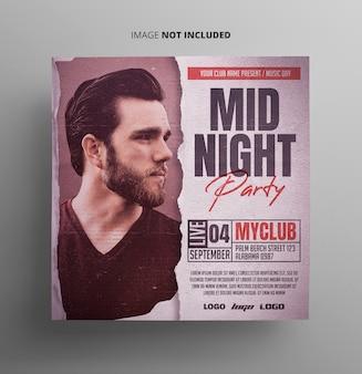 Evento de meia-noite festa flyer