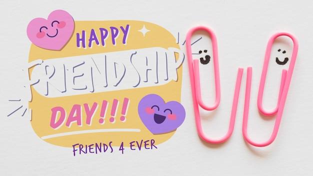 Evento do dia da amizade com clipes de papel