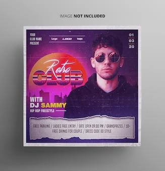 Evento retrô do club music flyer