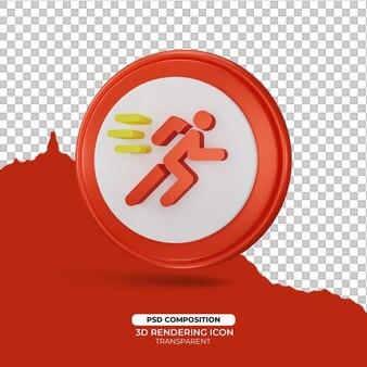 Executar rápido sinal de ícone de renderização 3d