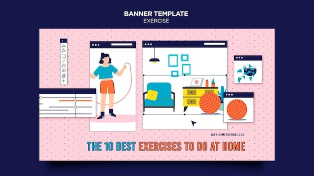 Exercício em casa banner horizontal