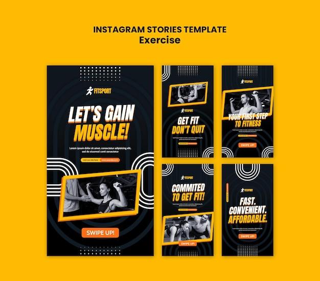 Exercício modelo de histórias do instagram