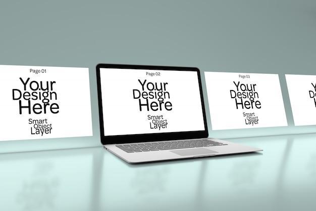 Exibição de 4 páginas da web em uma maquete de computador desktop