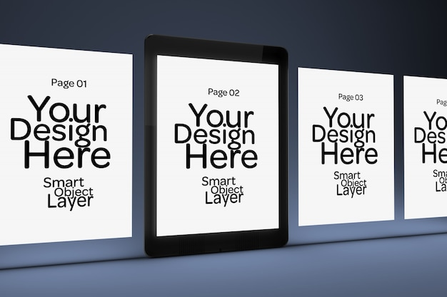 Exibição de 4 páginas da web em uma tela móvel