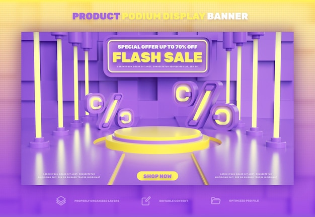 Exibição de produto com desconto em pódio 3d em venda especial de venda flash e banner de promoção de super mega venda