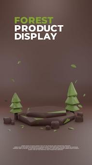 Exibição de promoção de produto de pódio realista em 3d forest nature clay