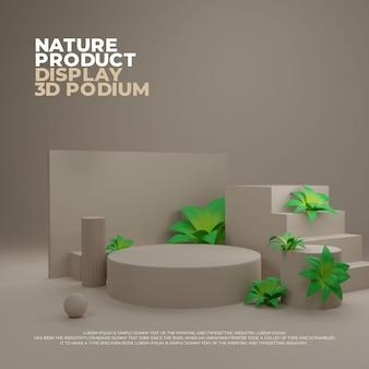 Exibição de promoção de produto de pódio realista em 3d nature plant