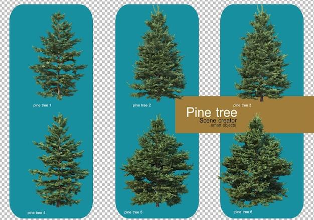 Exibir diferentes padrões de pinheiros