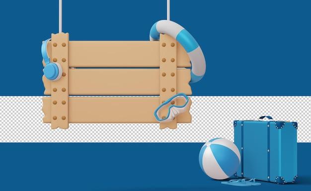 Exibir modelo de venda de verão com sinal vazio, temporada de verão, renderização em 3d