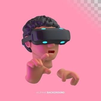 Experiência de realidade virtual. ilustração 3d