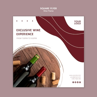 Experiência exclusiva do vinho panfleto quadrado