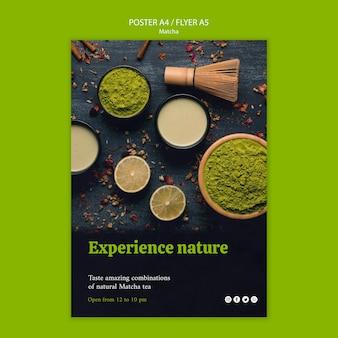 Experimente a natureza com o cartaz do chá matcha