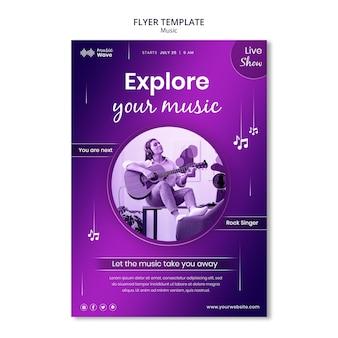 Explorar modelo de folheto de música