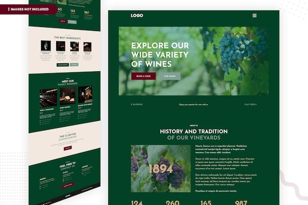 Explore nossa ampla variedade de modelos de página de site de vinhos