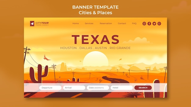 Explore o banner horizontal do texas