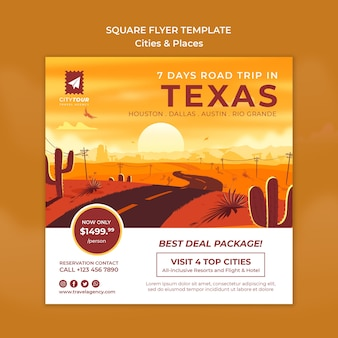 Explore o modelo de flyer quadrado do texas
