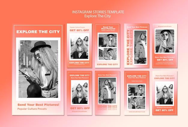 Explore o modelo de histórias de mídia social da cidade