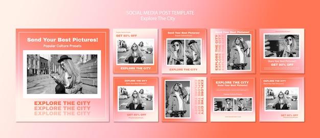 Explore o modelo de postagem de mídia social da cidade
