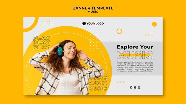 Explore seu modelo da web de banner de música