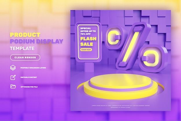 Expositor de produto com desconto 3d pódio para venda em flash campanha de venda especial