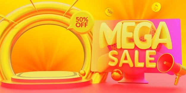 Expositor de produto pódio com desconto em mega venda