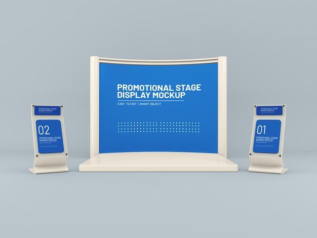 Expositor de vidro para evento promocional com maquete de exibição de palco