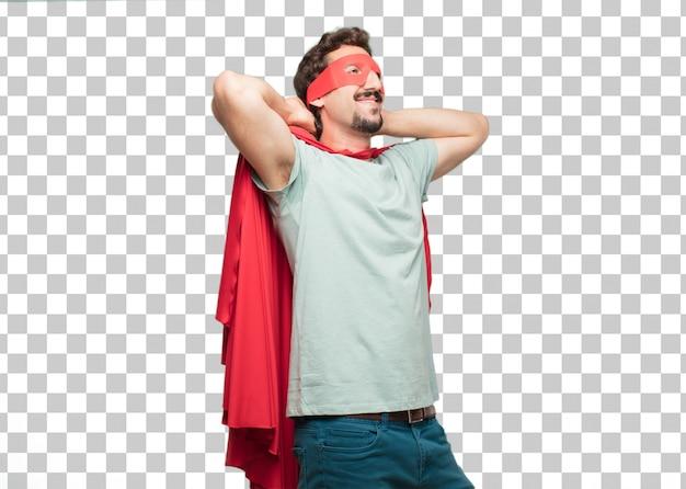 Expressão de satisfação do jovem louco super herói homem