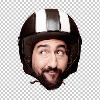 Expressão farpada louca nova da cabeça do entalhe do homem isolada. papel de piloto de moto. conceito de pensamento