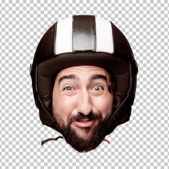 Expressão farpada louca nova da cabeça do entalhe do homem isolada. papel de piloto de moto. pose feliz