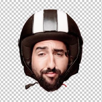 Expressão farpada louca nova da cabeça do entalhe do homem isolada. papel de piloto de moto