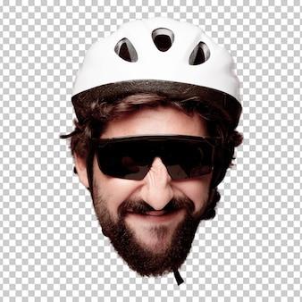 Expressão farpada louca nova da cabeça do entalhe do homem isolada. papel do ciclista. pose feliz