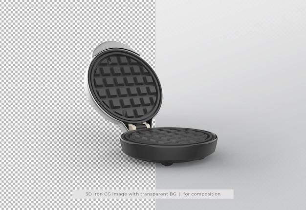 Fabricante de waffles em renderização 3d isolada