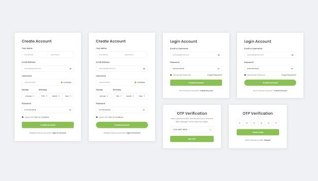 Faça login, inscreva-se e verifique as páginas de registro de usuários da web e dispositivos móveis