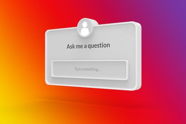 Faça-me uma pergunta em frame de mídia social