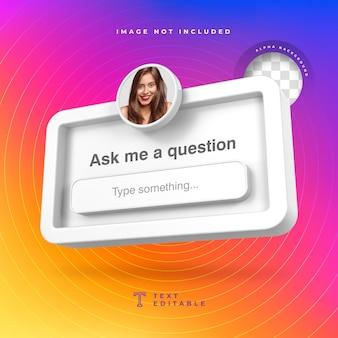 Faça-me uma pergunta frame 3d redes sociais