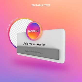 Faça uma pergunta instagram 3d isolate left