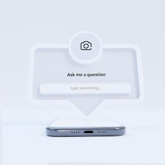 Faça uma pergunta - quadro de interface para postagem em mídia social