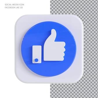 Facebook like com conceito de renderização 3d de estilo