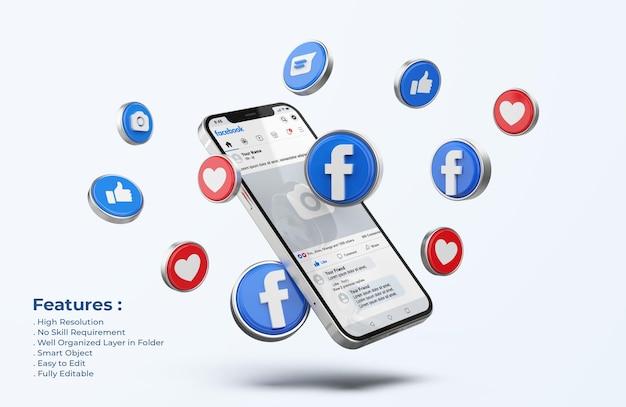 Facebook no celular maquete com ícones 3d