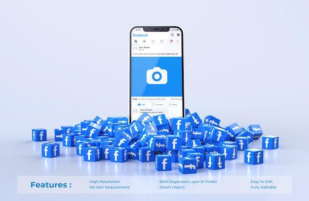 Facebook no celular mockup com pilha espalhada de ícone de cubos facebook