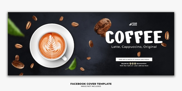 Facebook post template menu de comida especial, bebida, café