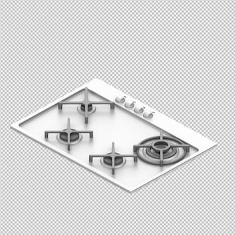 Faixa de cozinha isométrica 3d render