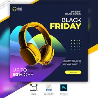 Faixa de instagram de produto de marca de fone de ouvido dourado