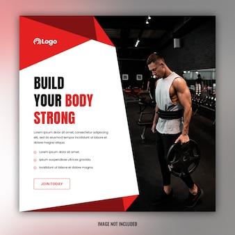 Faixa de mídia social de ginásio e fitness