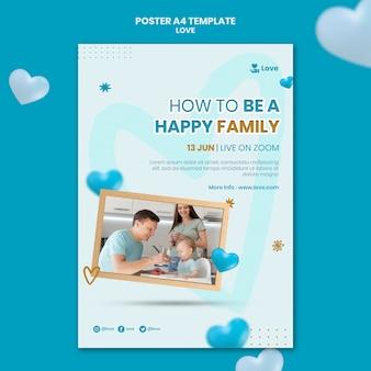 Família feliz com modelo de pôster infantil